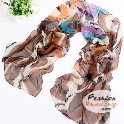 ผ้าพันคอแฟชั่นสวยหรู Luxury : สีน้ำตาล CK0041