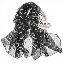 ผ้าพันคอแฟชั่น ลายภาษาอังกฤษ : พื้นสีดำ CK0352