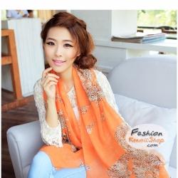 ผ้าพันคอแฟชั่นลายเสือ Leopard : สีส้ม CK0177