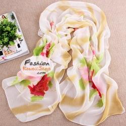 ผ้าพันคอแฟชั่นลายดอกไม้ Blossom : สีขาว CK0104