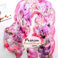 ผ้าพันคอแฟชั่นลายดอกไม้ Blossom : สีชมพู CK0010