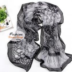 ผ้าพันคอแฟชั่นลายเสือ Leopard : สีดำเทา CK0086