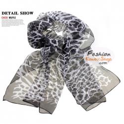 ผ้าพันคอแฟชั่นลายยีราฟ Giraffa : สีดำ CK0228