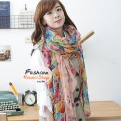 ผ้าพันคอแฟชั่นลายดอกไม้ Blossom : สีชมพู CK0301