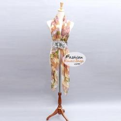 ผ้าพันคอแฟชั่นลายแผนที่โลก : สีน้ำตาล CK0268