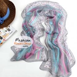 ผ้าพันคอแฟชั่นสวยหรู Luxury : สีเทา CK0096