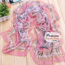 ผ้าพันคอแฟชั่นสวยหรู Luxury : สีชมพู CK0046