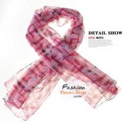 ผ้าพันคอแฟชั่นลายสก๊อต : สีชมพู CK0267