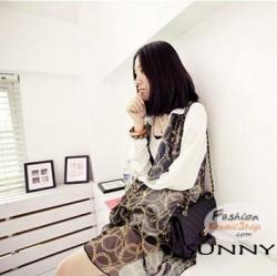 ผ้าพันคอแฟชั่นลวดลายสวยหรู Luxury : สีดำ CK0129