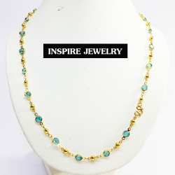 Inspire Jewelry ,สร้อยคอพลอยคริสตัลเม็ดกลม ยาว 24 นิ้ว ตัวเรือนหุ้มทองแท้100% 24K สวยหรู มีจำนวนจำกัด พร้อมถุงกำมะหยี่สวยหรู