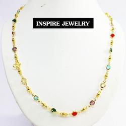 Inspire Jewelry ,สร้อยคอพลอยนพเก้าเม็ดกลม ยาว 24 นิ้ว หรือแก้ว9ประการ พรเก้าประการ ตัวเรือนหุ้มทองแท้100% 24K สวยหรู มีจำนวนจำกัด พร้อมถุงกำมะหยี่สวยหรู