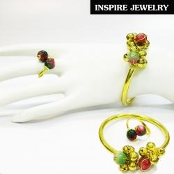 Inspire Jewelry กำไลทองเหลืองทั้งอัน ร้อยกับหินฮก ลก ซิ่ว และกระดิ่ง เป็นชุดเซ็ทแหวนและกำไล งานมือ ปราณีต งดงาม น่ารัก ฟรีไซด์ พร้อมถุงกำมะหยี่