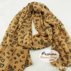 ผ้าพันคอแฟชั่นลายตัวอักษรเกาหลี : Brown Alphabet CK0186