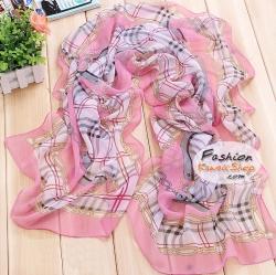 ผ้าพันคอแฟชั่นสวยหรู Luxury : สีชมพู CK0100