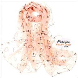 ผ้าพันคอแฟชั่น ลายหัวใจ LOVE YOU : สีชมพูอ่อน CK0400