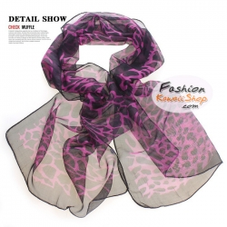 ผ้าพันคอแฟชั่นลายยีราฟ Giraffa : สีม่วง CK0226