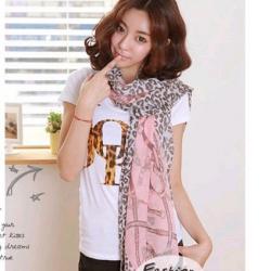 ผ้าพันคอแฟชั่นลายเสือดาว : สีชมพู CK0152