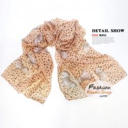 ผ้าพันคอแฟชั่นลายม้าลาย : Cream Zebra CK0258