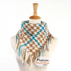 ผ้าพันคอชีมัค Shemash (เนื้อผ้า Cotton) : สีน้ำตาลขาว CV0005