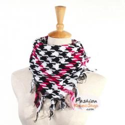 ผ้าพันคอชีมัค Shemash (เนื้อผ้า Cotton) : สีดำขาวคาดแดง CV0006