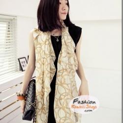 ผ้าพันคอแฟชั่นลวดลายสวยหรู Luxury : สีเหลือง CK0128