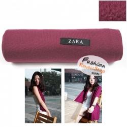 ผ้าพันคอแฟชั่นเกาหลีสีพื้น ZARA VIOLET : สีม่วงเข้ม CK0147