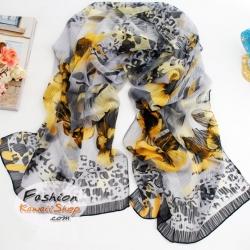 ผ้าพันคอลายดอกไม้ Blossom : สีเหลือง CK0095
