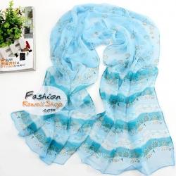 ผ้าพันคอแฟชั่นลายดอกไม้ Blossom : สีฟ้า CK0102