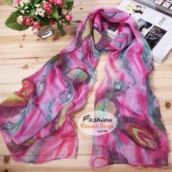 ผ้าพันคอแฟชั่นลายหางนกยูง : สีชมพู CK0193