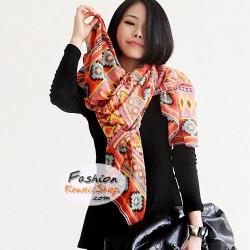 ผ้าพันคอแฟชั่นโบฮีเมียน Nordic ethnic : สีส้ม CK0141