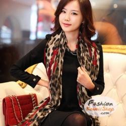 ผ้าพันคอแฟชั่น ลายเสือ Leopard : สีน้ำตาลขาวขอบแดง CK0417