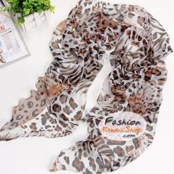 ผ้าพันคอแฟชั่นลายเสือ Leopard : สีน้ำตาลขาว CK0035