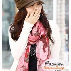 ผ้าพันคอแฟชั่น H&M : ลายดอก Begonia สีชมพู CK0136