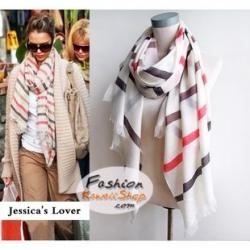 ผ้าพันคอแฟชั่นลายเรียบสวยหรู Luxury : พื้นสีขาว CK0118