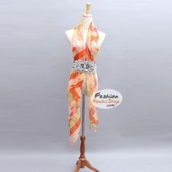 ผ้าพันคอแฟชั่นลายแผนที่โลก : สีส้ม CK0269