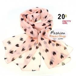 ผ้าพันคอแฟชั่นลายหัวใจ Sweet Heart : สีดำพื้นสีชมพู CK0234