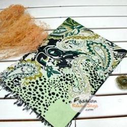 ผ้าพันคอแฟชั่นลายมังกร : สีเขียว CK0199