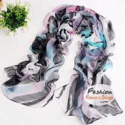 ผ้าพันคอแฟชั่นสวยหรู Luxury : สีดำเทา CK0042