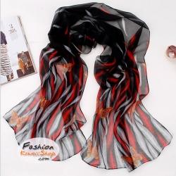 ผ้าพันคอแฟชั่นลายผีเสื้อ Orange Butterfly : สีแดงดำ CK0007