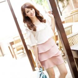 ♥♥ พร้อมส่งค่ะ ♥♥ กระโปรงน่ารักๆ แต่งระบายเป็นชั้นๆ สีชมพูหวานๆ