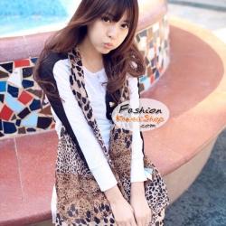 ผ้าพันคอแฟชั่นลายเสือ Leopard : สีน้ำตาล CK0130