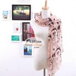 ผ้าพันคอแฟชั่นลายวินเทจ Vintage : สีชมพู CK0137