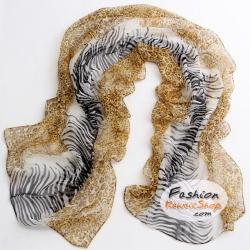 ผ้าพันคอแฟชั่นลายเสือ Leopard : สีน้ำตาลอ่อน CK0065