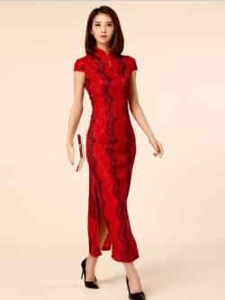 ♥พร้อมส่ง♥ ชุดกี่เพ้าผ้าลูกไม้ยาวสีแดงไซส์ใหญ่ ซับในทั้งตัว (2XL อก44)