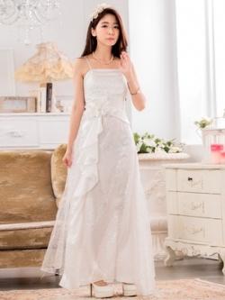 ♥พร้อมส่ง♥ ชุดราตรีซาตินยาว ผ้าตาข่ายประดับเลื่อม สีขาว (3XL)