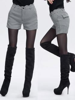 ♥พร้อมส่ง♥ กางเกงขาสั้นลายตารางสีขาวดำ ไซส์ 2XL เอว 36