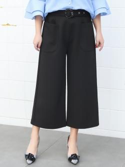 กางเกงculottesขาบานสีดำไซส์ใหญ่ (XL,2XL,3XL,4XL) ZX1079