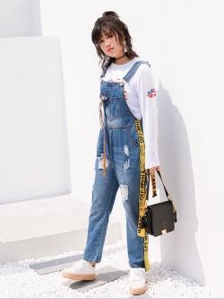 ♥พร้อมส่ง♥ ชุดเอี๊ยมยีนส์แฟชั่นเกาหลีไซส์ใหญ่ (42)