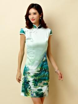 ♥พร้อมส่ง♥ ชุดกี่เพ้าสั้นผ้าซาตินสไตล์คลาสสิกลายธรรมชาติทิวทัศน์ คอจีน กระดุมจีน แขนในตัว (3XL อก 44)