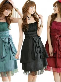 ชุดราตรีผ้าซาติน สีดำ/สีไวน์แดง/สีเขียว (XL,2XL,3XL) JK-1110